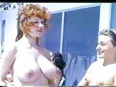Vintage nudists enjoy a lovely summer day outdoors and play in the park