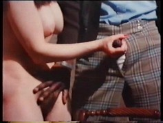 Foursome vintage sex between black and white couples. Interracial old-school fuck orgy