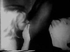 Vintage foreplay in black and white with tender cunt licking and cock teasing