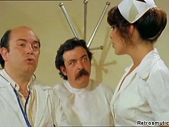 Horny doctors and their gorgeous nurse with a perfect ass fool around in classic porn