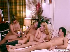 Hardcore retro orgy with french blondes babes from the golden age porn