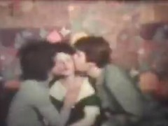Double teamed vintage babe makes both guys cum with her hot mouth and pussy
