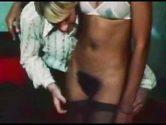 Lithe young ladies explore each other in a vintage clip with erotic licking