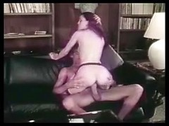Horny retro wife Annette Haven takes huge cock in her hairy twat in old porn